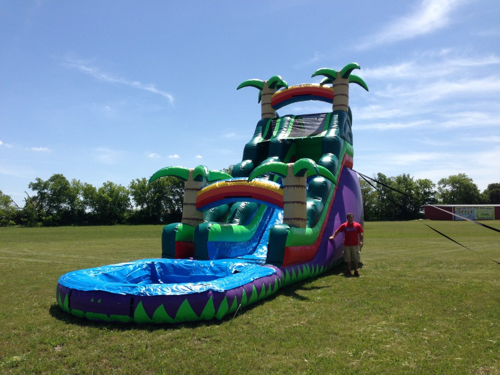 20ft Tropical Water Slide Inflatable Water Slides For Rent