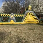 This is an inflatable obstacle course side view