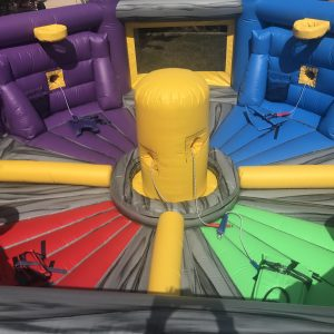 This is a Hungry Hungry Hippo inflatable obstacle