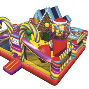 This is a CandyLand Bounce House for Toddlers